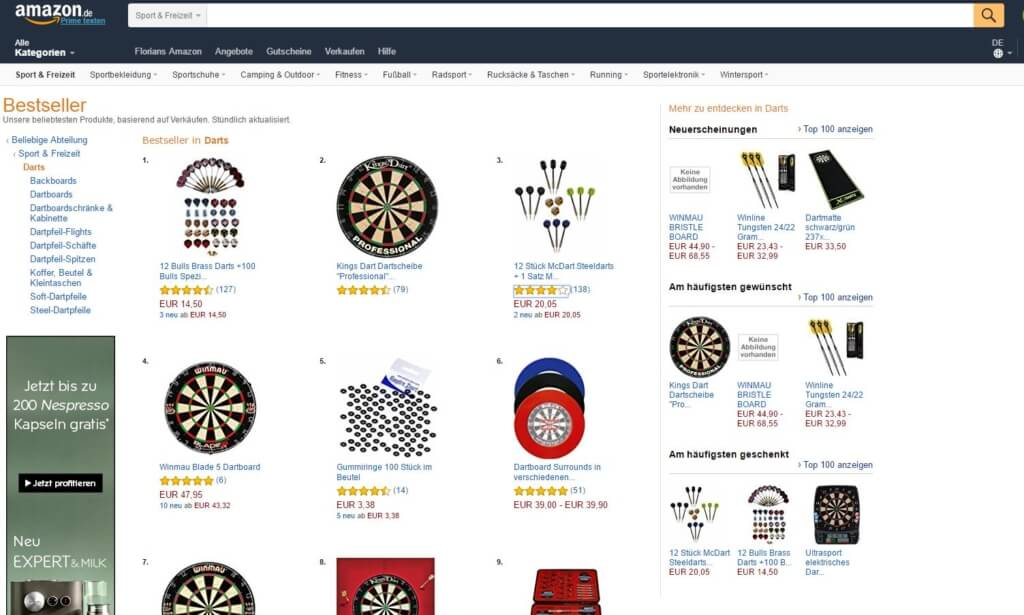 Keywords und Artikel bei Amazon finden