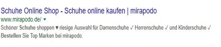 Meta Description von mirapodo.de